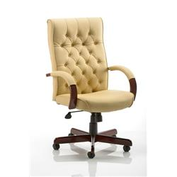 Chesterfield Executive Chair Cream Bonded Leather With Arms Ref EX000005