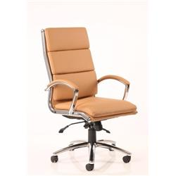 Classic Executive Chair Tan Bonded Leather With Arms High Back Ref EX000008