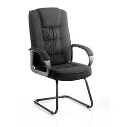 Moore Visitor Cantilever Chair Black Fabric With Arms Ref KC0149
