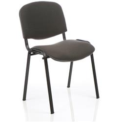 ISO Stacking Chair Charcoal Fabric Black Frame Without Arms Ref BR000059