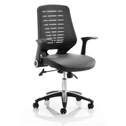 Relay Task Operator Chair Bonded Leather Seat Black Back With Arms Ref OP000117