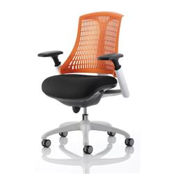 Flex Task Operator Chair White Frame Black Fabric Back With Orange Back With Arms Ref KC0059
