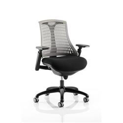 Flex Task Operator Chair Black Frame With Black Fabric Seat Grey Back With Arms Ref KC0077