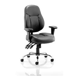 Storm Task Operator Chair Black Bonded Leather With Arms Ref OP000129