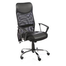 Vegas Executive Chair Black Leather Seat Black Mesh Back With Leather Headrest With Arms Ref EX000074