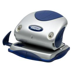 Rexel P215 2-Hole Punch with Nameplate Capacity 15x 80gsm Silver and Blue Ref 2100739