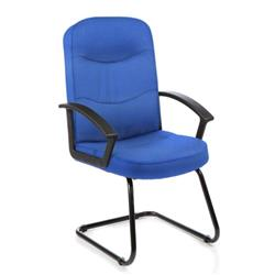 Harley Visitor Cantilever Chair Blue Fabric With Arms Ref EX000037