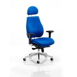 Chiro Plus Ergo Posture Chair Blue Fabric With Arms Fabric With Headrest Ref PO000004