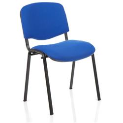 ISO Stacking Chair Blue Fabric Black Frame Without Arms Ref BR000057