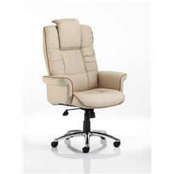 Chelsea Executive Chair Cream Bonded Leather With Arms Ref EX000002