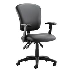 Toledo Task Operator Chair Black Bonded Leather With Arms Ref OP000133