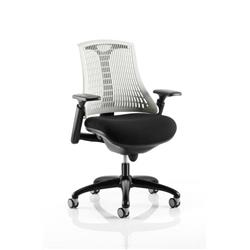 Flex Task Operator Chair Black Frame With Black Fabric Seat Moonstone White Back With Arms Ref KC0072