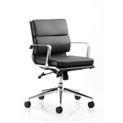 Savoy Executive Chair Black Bonded Leather Medium Back With Arms Ref EX000069