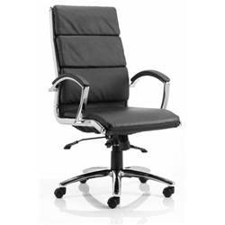 Classic Executive Chair Black Bonded Leather With Arms High Back Ref EX000007