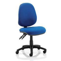 Luna II Lever Task Operator Chair Blue Fabric Without Arms Ref OP000077
