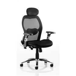 Sanderson Executive Chair Black Leather With Mesh Back With Arms Ref EX000064