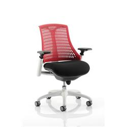 Flex Task Operator Chair White Frame Black Fabric Seat With Red Back With Arms Ref KC0057