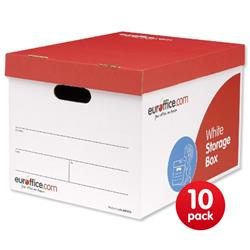 Euroffice Storage Box Red and White W317xD384xH287mm [Pack 10]