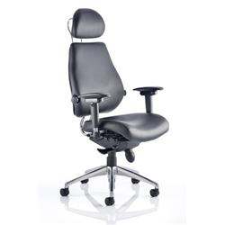 Chiro Plus Ultimate Chair Black Bonded Leather With Arms With Headrest Ref PO000013