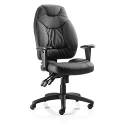 Galaxy Task Operator Chair Black Bonded Leather With Arms Ref OP000068