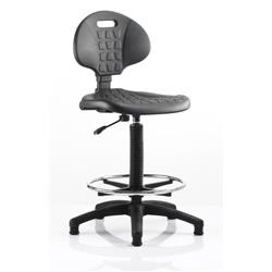 Malaga Draughtsman Task Operator Chair Black Polyurethane Seat And Back Without Arms Ref OP000089