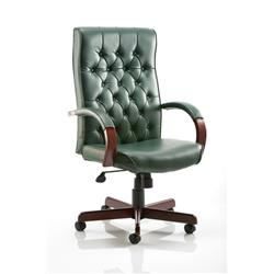 Chesterfield Executive Chair Green Bonded Leather With Arms Ref EX000006