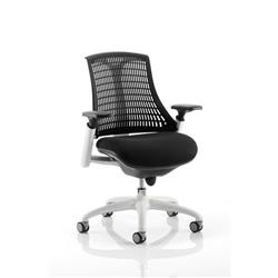 Flex Task Operator Chair White Frame Black Fabric Seat With Black Back With Arms Ref KC0055