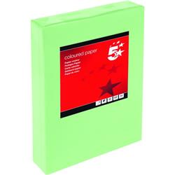 5 Star Office Coloured Copier Paper Multifunctional Ream-Wrapped 80gsm A4 Bright Green [500 Sheets]