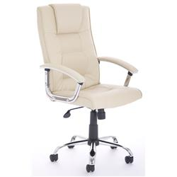 Thrift Executive Chair Cream Bonded Leather With Padded Arms Ref EX000164