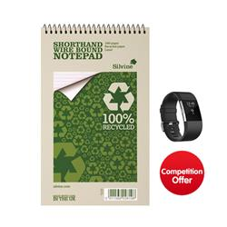 Silvine Everyday Shorthand Notepad Recycled Wirebound Ruled 160pp 70gsm [Pack 12] - Chance to Win a FREE Fitbit