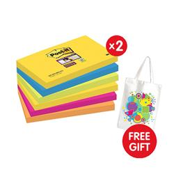 Post-it Super Sticky Removable Notes Pad 90 Sheets 76x127mm [Pack 6] - x2 - FREE Tote Gift Bag