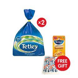 Tetley Tea Bags High Quality [Pack 440] - x2 - FREE Tetley Tea Towel and Immune Peach & Orange Super Tea