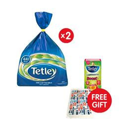 Tetley Tea Bags High Quality 1 Cup [Pack 440] - x2 - FREE Tetley Tea Towel & Boost Berries Super Tea