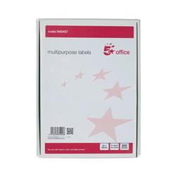 5 Star Office Multipurpose Labels Laser Copier Inkjet 21 per Sheet 64x34mm White 10500 Labels [Pack 500]