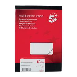 5 Star Office Multipurpose Labels Laser Copier Inkjet 6 per Sheet 99x93mm White 600 Labels [Pack 100]