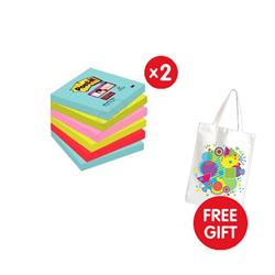 Post-It Super Sticky Z-Notes Super Strong 76x76mm [Pack 6] - x2 - FREE Tote Gift Bag