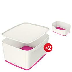 Leitz MyBox Large with lid, white/pink - x2 + FREE Storage Tray Offer