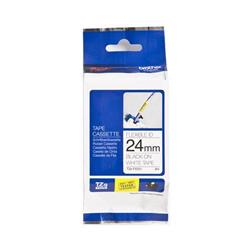 Brother P-touch TZe-FX251 (24mm x 8m) Black On White Gloss Laminated Flexi Labelling Tape