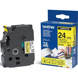 Brother TZe-651 (24mm x 8m) Black On Yellow Laminated Labelling Tape