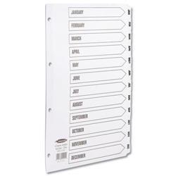 Concord Classic Index Mylar-reinforced Punched 4 Holes Jan-Dec A4 White Ref 02201/CS22 - 3 for 2