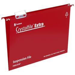 Rexel Crystalfile Extra Suspension File Polypropylene 15mm Foolscap Red Ref 70629 [Pack 25] - 2 for 1