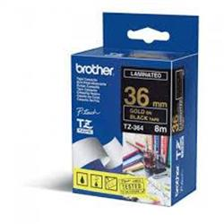 Brother P-touch TZe-364 (36mm x 8m) Gold On Black Gloss Laminated Labelling Tape