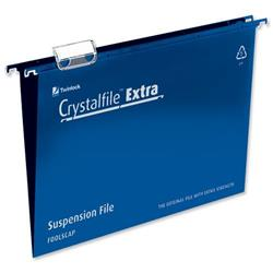 Rexel Crystalfile Extra Suspension File Polypropylene 15mm Foolscap Blue Ref 70630 [Pack 25] - 2 for 1