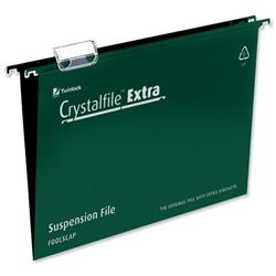 Rexel Crystalfile Extra Suspension File Polypropylene 15mm Foolscap Green Ref 70628 [Pack 25] - 2 for 1