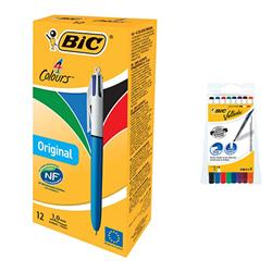 Bic 4-Colour Ballpoint Pen Blue Black Red Green Ref Ref 802077/801867 - Pack12 - FREE Pack of 8 Velleda Drywipe Markers