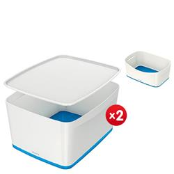 Leitz MyBox Large with lid, white/blue - x2 + FREE Storage Tray Offer