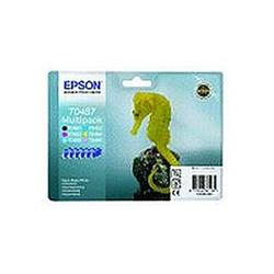 Epson T0487 Ink Cartridge Multi 6 Pack for Stylus Photo R200/R220/R300/R320/R340/RX500/RX600/RX620/RX640 Printers - With RF Security Tag