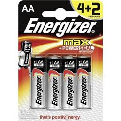 Energizer Max AA/E91 Batteries Ref E300112500 (Pack 4) - FREE 2 Batteries