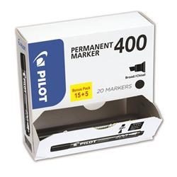 Pilot 400 Permanent Marker Chisel Tip Line 1.5-4.0mm Black Ref 3131910504061 [Pack 15&5 Free] - 2 for 1
