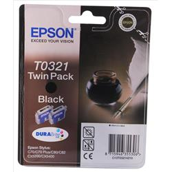 Epson T0321 Black Ink Cartridge (Twin Pack) for Stylus C70/c8x(n)/cx5x00